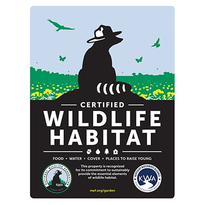 Kentucky Wildlife Federation Certified Wildlife Habitat Sign