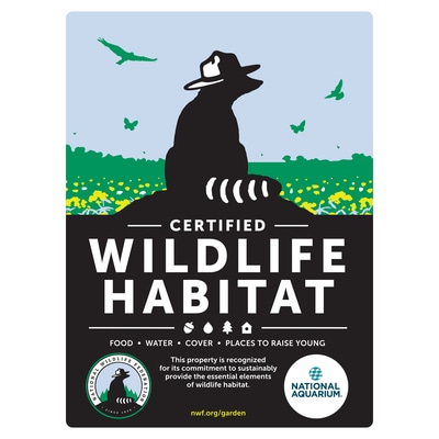 Maryland National Aquarium Certified Wildlife Habitat Sign