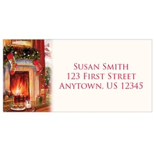 Christmas Fireplace Address Labels