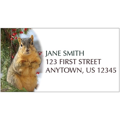 Squirrel with Berries Address Label