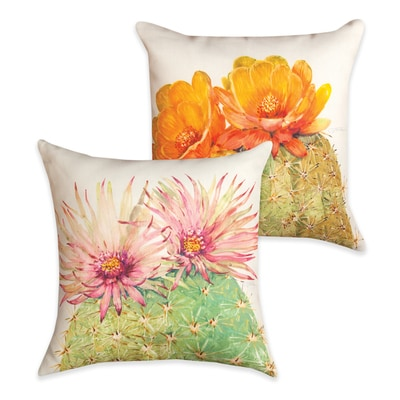 Cactus Blossoms Reversible Pillow