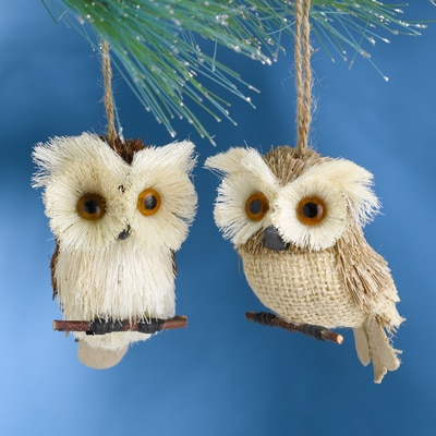 Natural Owl Buri Ornament Set