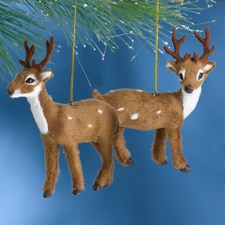 Reindeer Plush Ornament Set