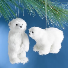 Polar Bears Plush Ornament Set