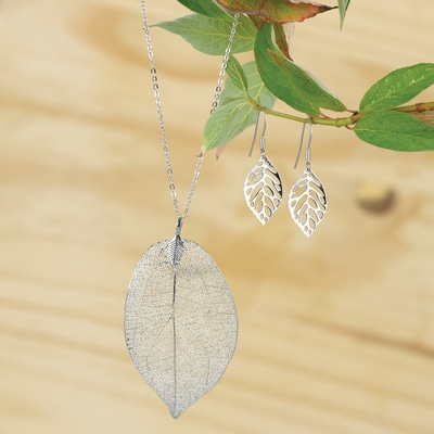 Leaf Necklace/Earring Set