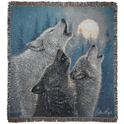 In-Harmony Wolf Tapestry Throw