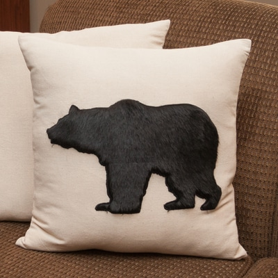 Black Bear Faux Fur Pillow