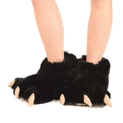 Black Bear Plush Slippers