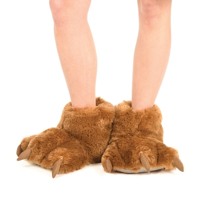Brown Bear Plush Slippers