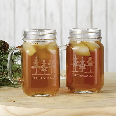 Northwoods Trees Drinking Jars