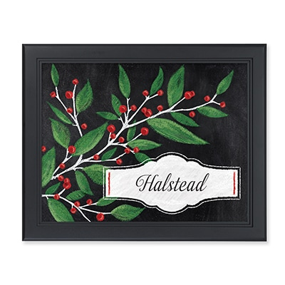 Berries and Branches Chalkboard Personalized Wall Art