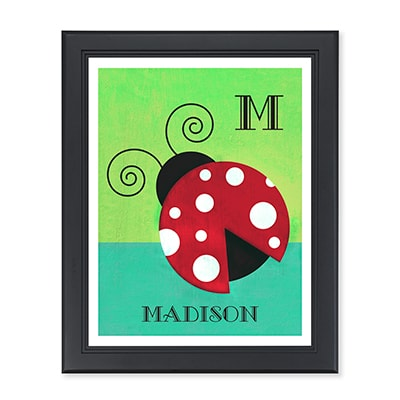 Lively Ladybug Monogram Personalized Wall Art