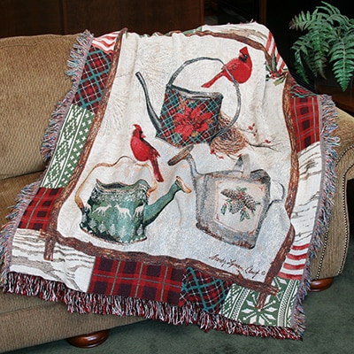 Christmas Garden Tapestry Throw