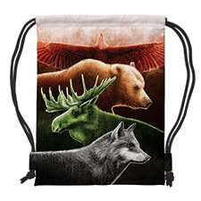 Outdoor Collage Drawstring Bag
