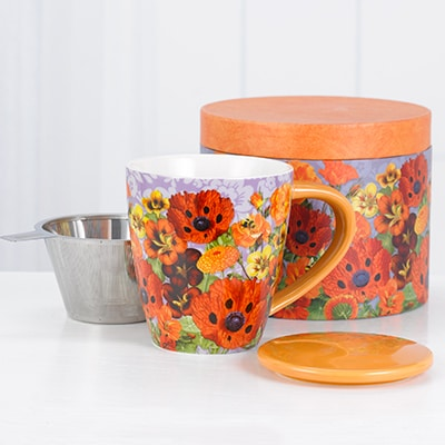 Pretty Poppies Tea Infuser Mug