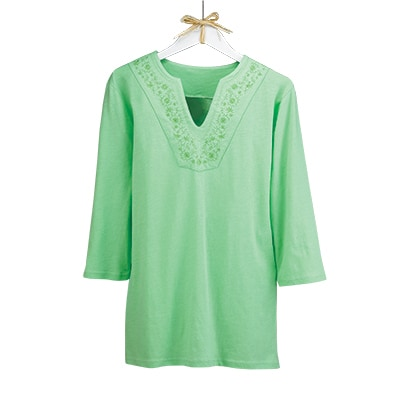 Tonal Floral Embroidered Tunic