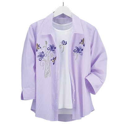 Hummingbird and Iris Shirt Set