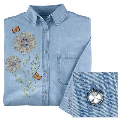 Butterfly and Sunflowers Denim Shirt
