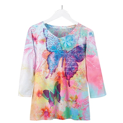 Water Color Splash Butterfly Tee
