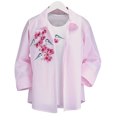Chickadees and Pinks Shirt Set