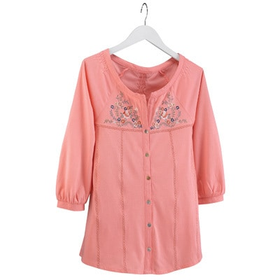 Embroidered Flamingo Pink Floral Tunic