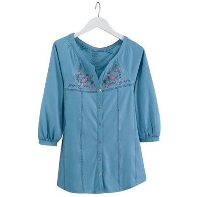 Embroidered Blue Floral Tunic