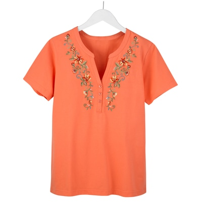 Persimmon Embroidered V-Notch Tee