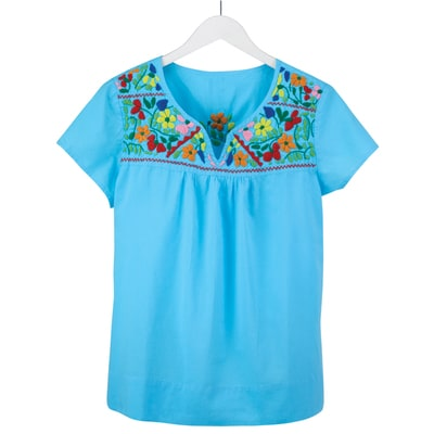 Embroidered Flower Neckline Turquoise Tee