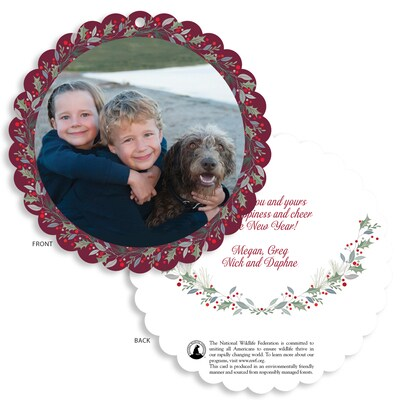 Holly and Berry Scalloped Circle Photo Card