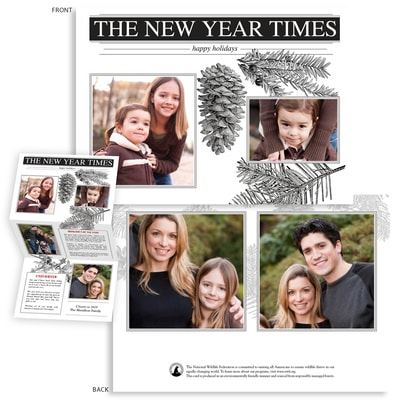 New Year Times Trifold Photo Card