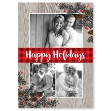 Rustic Floral & Plaid Flat Photo Card