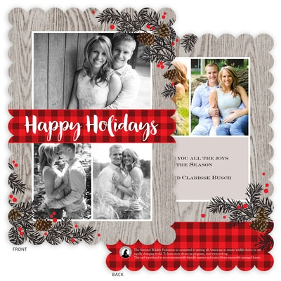 Rustic Floral & Plaid Flat Die-Cut Photo Card