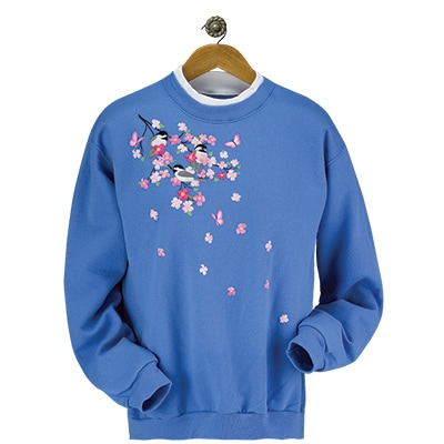 Chickadees & Cherry Blossoms Pullover