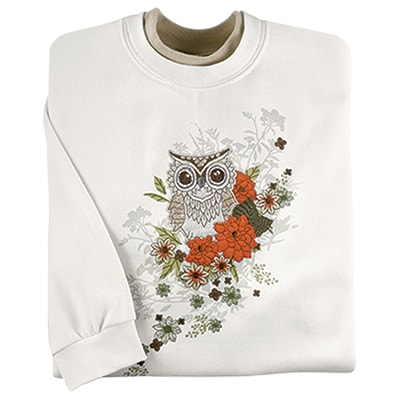 Fall Floral Owl Pullover