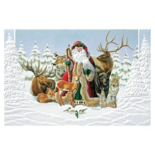 Santa and the Animals Card