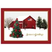 Serene Winter Barn Card