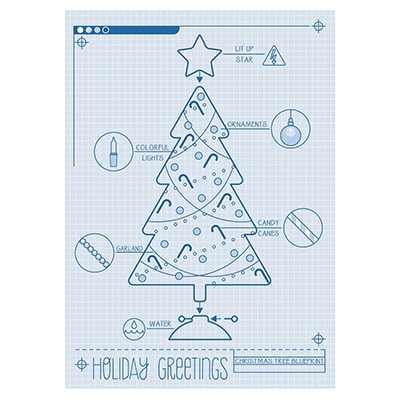 Christmas Tree Blueprint Card