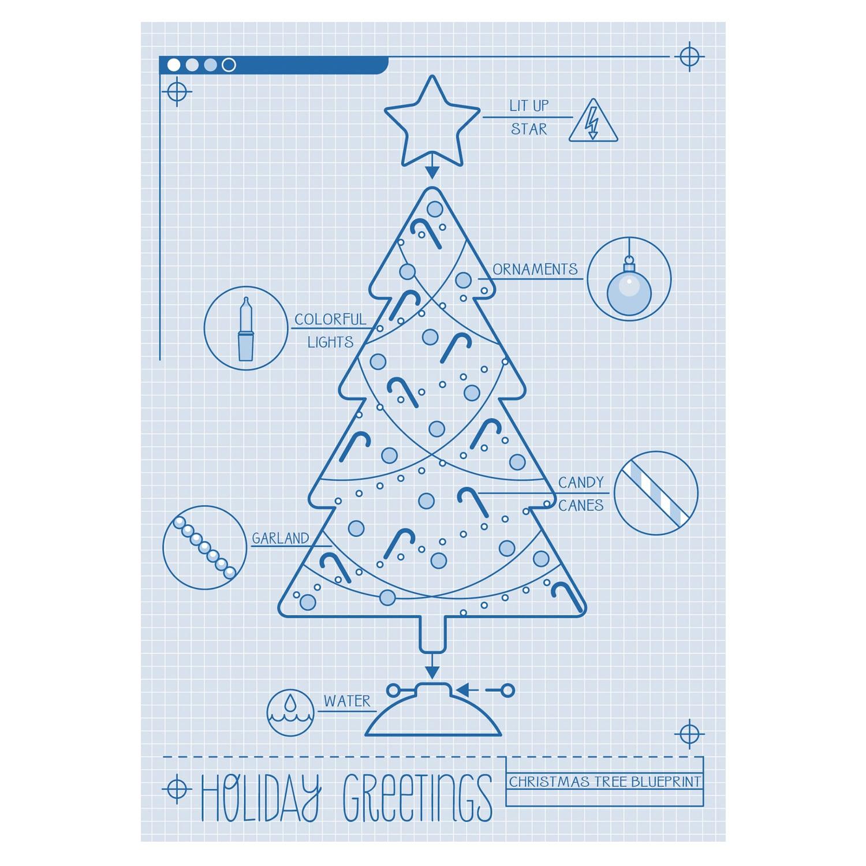 Christmas Tree Blueprint Card   Card Shop NWF