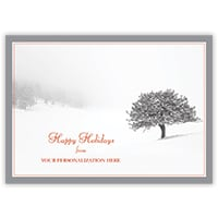 Lone Tree in Snow and Fog Card