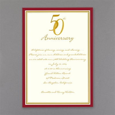 Red and Gold 50th Anniversary - Invitation