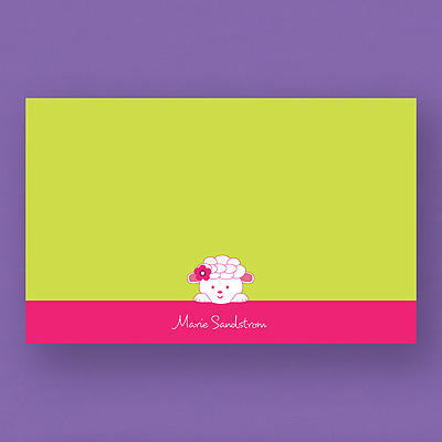 Little Lamb Baby Shower Note Card And Envelope Thank You Notes