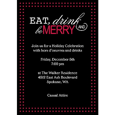 Eat, Drink, Be Merry - Red - Party Invitation