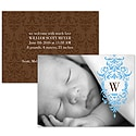 Blue Flourish - Photo Birth Announcement