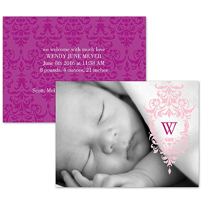 Pink Flourish - Photo Birth Announcement