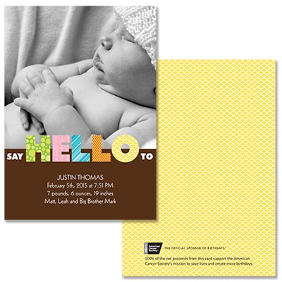 Say Hello - Photo Birth Announcement