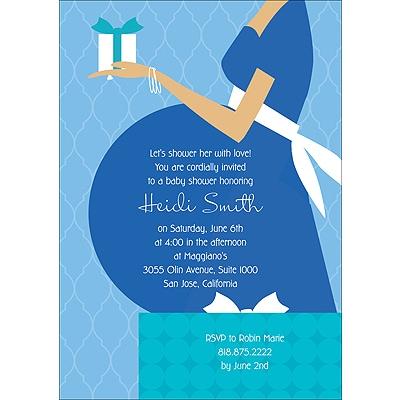Baby Belly - Blue Baby Shower Invitation
