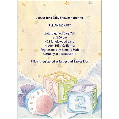 Baby Blocks - Baby Shower Invitation