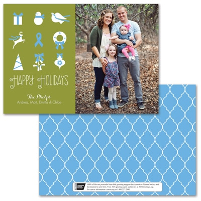 Symbols of the Season Photo Card - Blue Ribbon