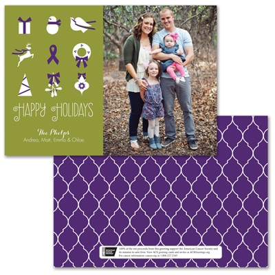 Symbols of the Season Photo Card - Purple Ribbon