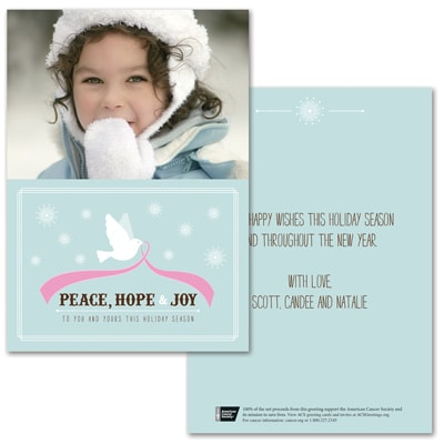 Tranquility Dove Photo Card - Pink Ribbon
